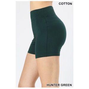 "NEW ""Verdad"" hunter green cotton biker shorts"